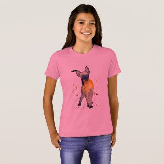 pink t-shirt with handpainted cat
