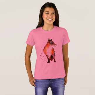 pink t-shirt with handpainted fox