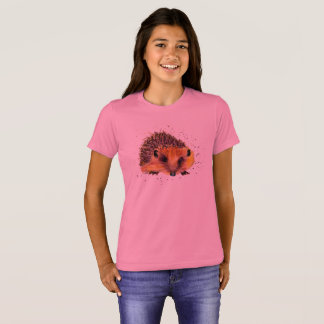 pink t-shirt with handpainted hedgehog