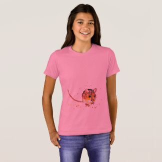 pink t-shirt with handpainted mouse