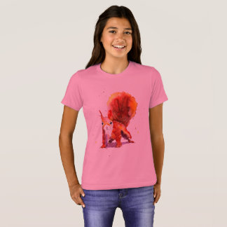 pink t-shirt with handpainted squirrel