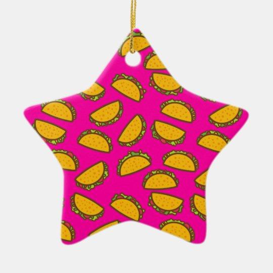 pink tacos ceramic star ornament