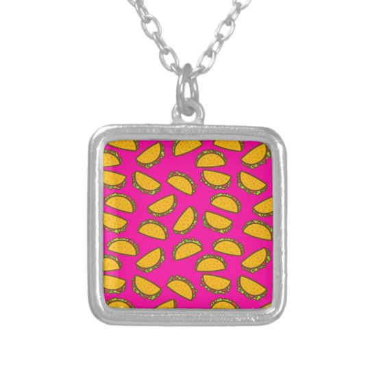 pink tacos silver plated necklace