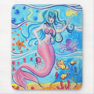 Pink Tailfin Mermaid Mousepad