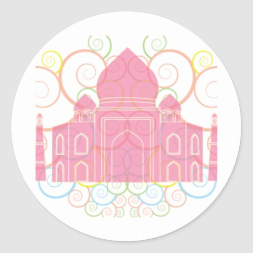 Pink Taj Mahal Round Stickers