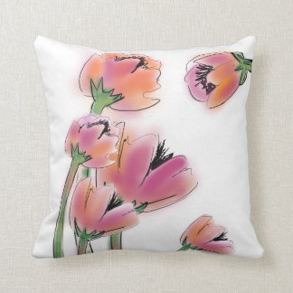 Pink/Tangerine Poppies Square Pillow