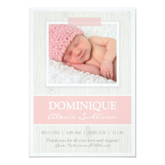 Pink Tape on Wood Grain Photo Birth Announcement