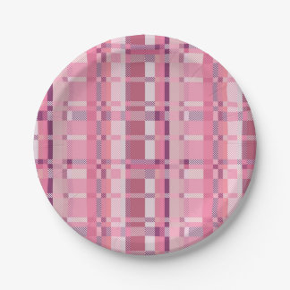 Pink Tartan Plaid Paper Plates 7 Inch Paper Plate