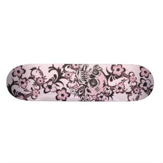 Pink Tattoo Skull Skate Board