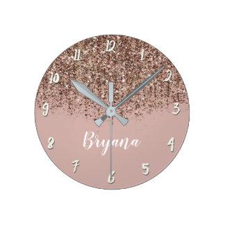 Pink Taupe Bronze Gold Glitter Glam Girly Chic Round Clock