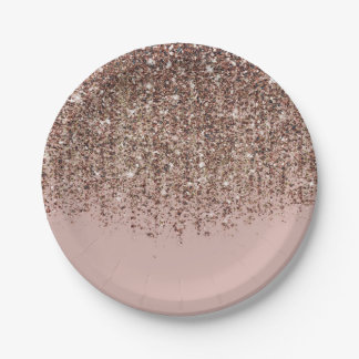 Pink Taupe Bronze Gold Glitter Glam Party Paper Plate