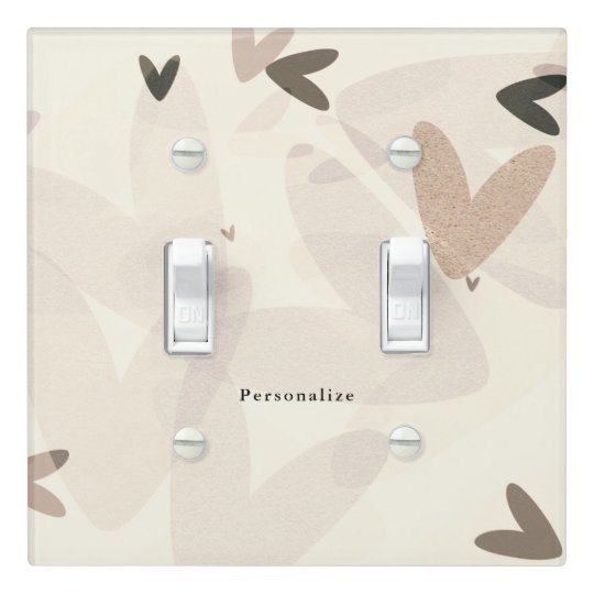 Pink & Taupe Hearts Modern Chic Personalized Light Switch Cover