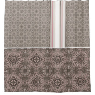 Pink Taupe White Gothic Tile and Stripe
