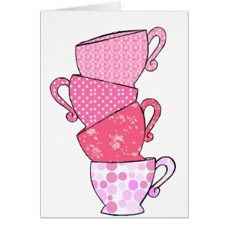 Pink Tea Cup Stack Card