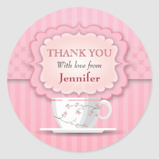 Pink Tea Party Thank You Large Round Sticker