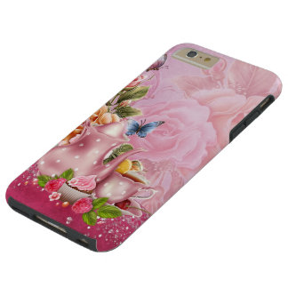 Pink Tea Party Tough iPhone 6 Plus Case