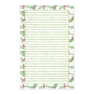 Pink Tea Rose Watercolor Flowers Lined Stationery