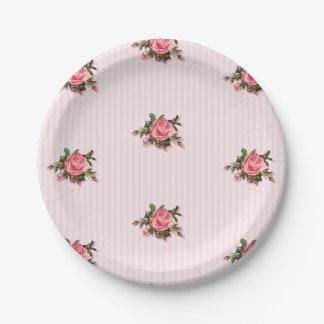 Pink Tea Roses Paper Plate