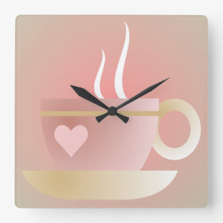 Pink Teacup and Heart Wall Clock