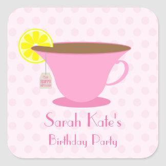 Pink Teacup Birthday Party Stickers