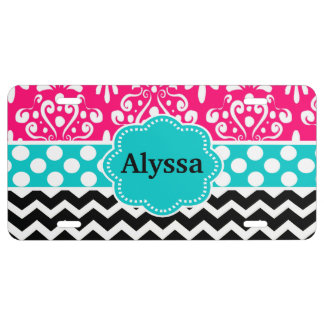 Pink Teal Black Damask Chevron Personalized License Plate