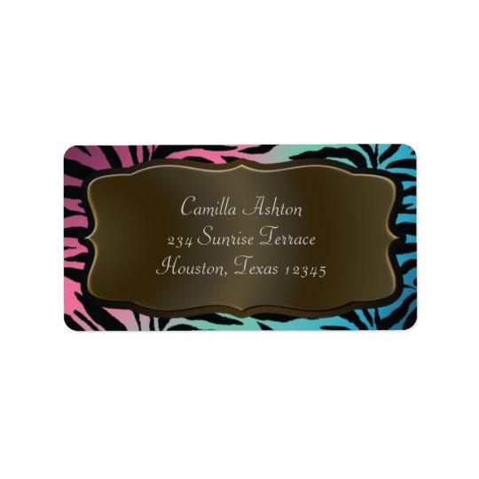 Pink Teal Blue Zebra Address Labels