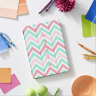 Pink Teal Chevron Personalized iPad Pro Cover