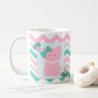 Pink Teal Chevron with Girl Bear Wearing Pearls Coffee Mug