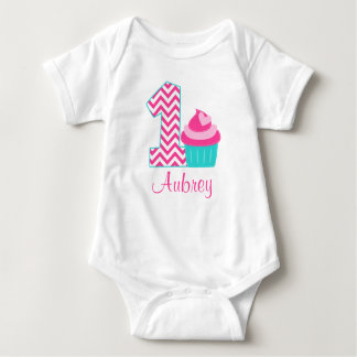 Pink Teal Cupcake 1st Birthday Personalized Baby Bodysuit