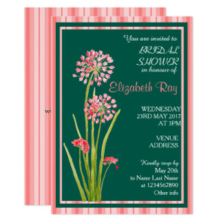 Pink Teal Delicate Floral Bridal Shower Invitation