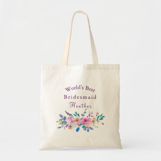 Pink & Teal Floral Bridesmaid/Maid Of Honor Tote Bag