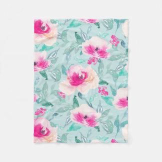 Pink Teal Floral Watercolor Summer Blanket