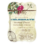 "Pink Teal Love Birds Sitting In A Tree Wedding 5"" X 7"" Invitation Card"