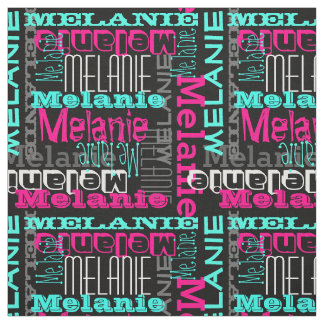 Pink Teal Name Custom Modern Collage Girls Fabric