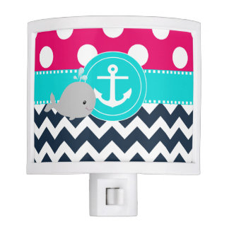 Pink Teal Navy Whale Night Lites