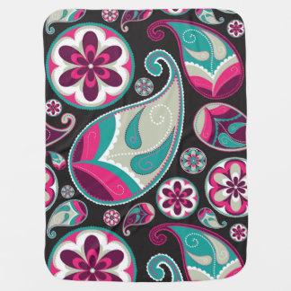 Pink Teal Paisley Pattern Baby Blanket