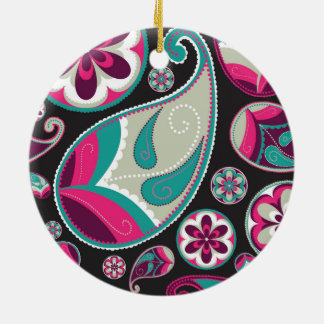 Pink Teal Paisley Pattern Ceramic Ornament
