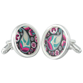 Pink Teal Paisley Pattern Cufflinks