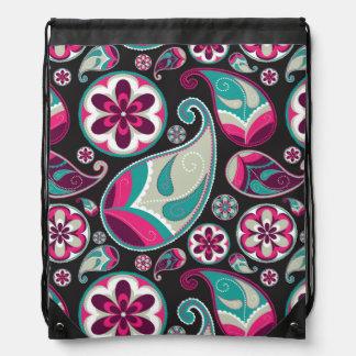 Pink Teal Paisley Pattern Drawstring Bag