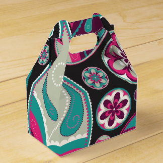 Pink Teal Paisley Pattern Favor Box