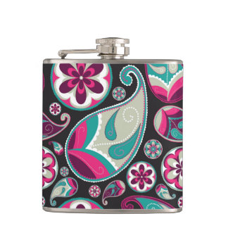 Pink Teal Paisley Pattern Hip Flask