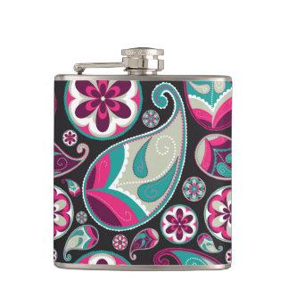 Pink Teal Paisley Pattern Hip Flask