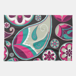 Pink Teal Paisley Pattern Kitchen Towel