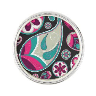 Pink Teal Paisley Pattern Lapel Pin