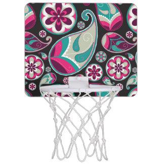 Pink Teal Paisley Pattern Mini Basketball Hoop