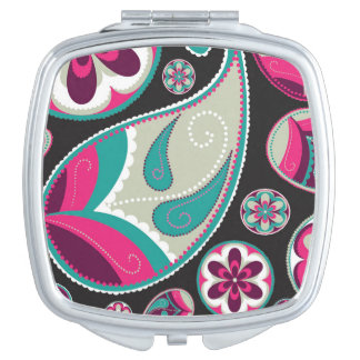 Pink Teal Paisley Pattern Mirror For Makeup