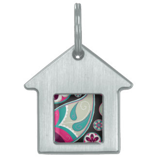 Pink Teal Paisley Pattern Pet ID Tags
