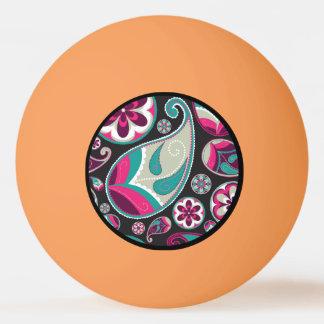 Pink Teal Paisley Pattern Ping Pong Ball