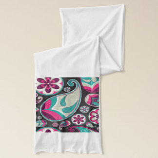 Pink Teal Paisley Pattern Scarf
