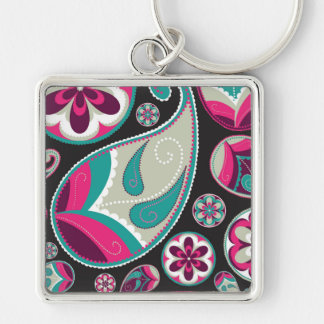 Pink Teal Paisley Pattern Silver-Colored Square Keychain